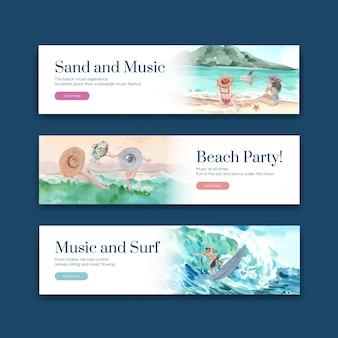 Bannerschablone mit strandurlaubskonzeptentwurf für die aquarellillustration