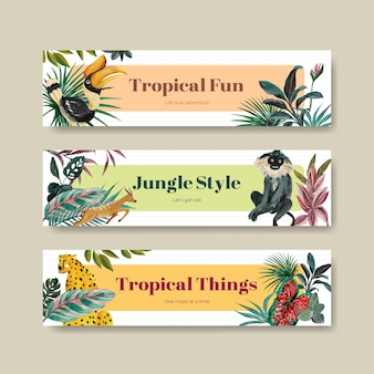 Bannerschablone mit tropischem zeitgenössischem konzeptentwurf für werbung und vermarktung aquarellillustration