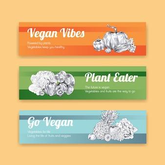 Bannerschablone mit veganem lebensmittelkonzeptdesign.
