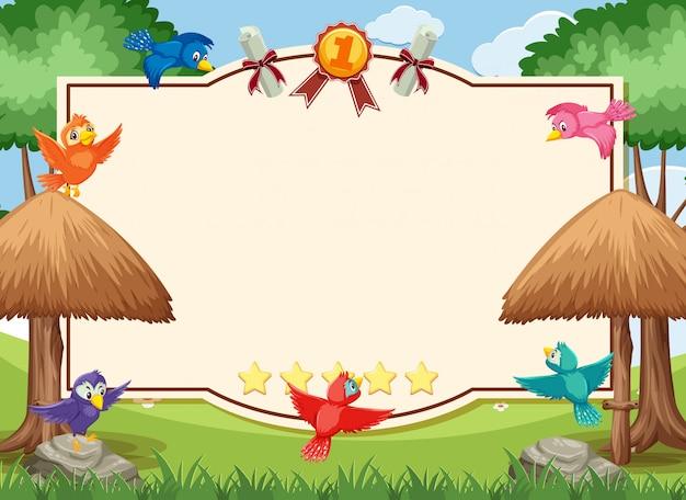 Bannerschablone mit vögeln, die im park fliegen