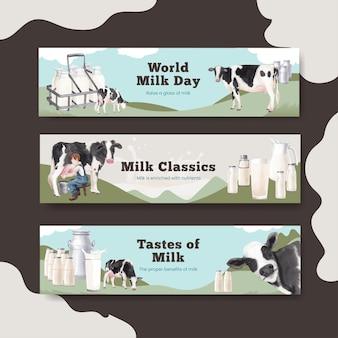 Bannerschablone mit weltmilch-tageskonzept, aquarellart