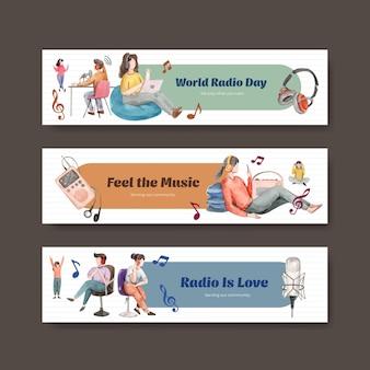 Bannerschablone mit weltradiotag-konzeptentwurf für werbung und vermarktung aquarellillustration