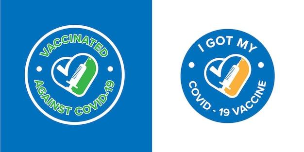 Bannersymbol mit text ich habe meinen covid-19-impfstoff für geimpfte personen bekommen. aufkleber für die coronavirus-impfstoffkampagne. medizin- und gesundheitskonzepte Premium Vektoren