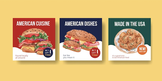 Bannervorlage mit amerikanischem lebensmittelkonzept, aquarellstil