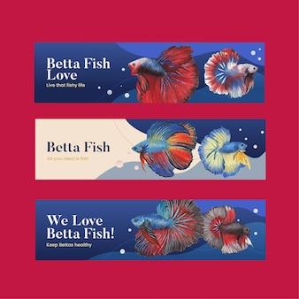 Bannervorlage mit betta fisch im aquarellstil