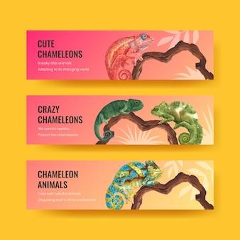 Bannervorlage mit chamäleon-eidechse im aquarellstil Kostenlosen Vektoren