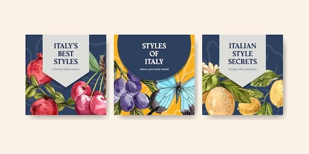 Bannervorlage mit italienischem stil im aquarellstil