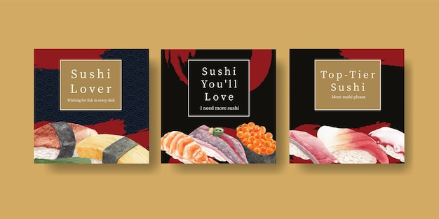 Bannervorlage mit premium-sushi-konzept, aquarell-stil