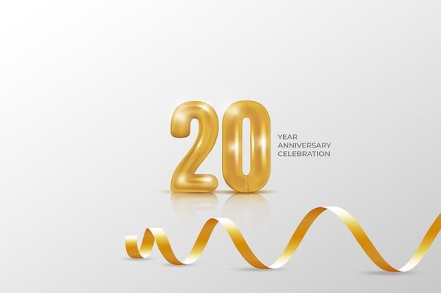 Bannervorlage zum 20-jährigen jubiläum. illustration mit goldener zahl.