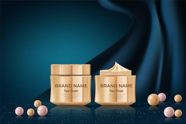 Bannerwerbung für kosmetische produkte auf seidenstoffhintergrund.