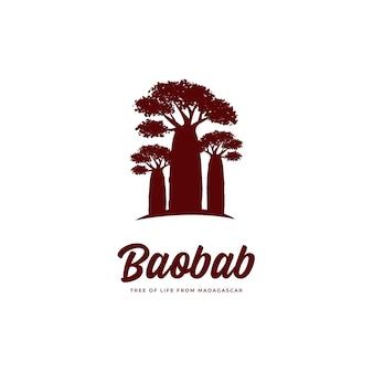 Baobab-baum-logo, großer baobab-baum des lebens aus madagaskar-logo-vorlage