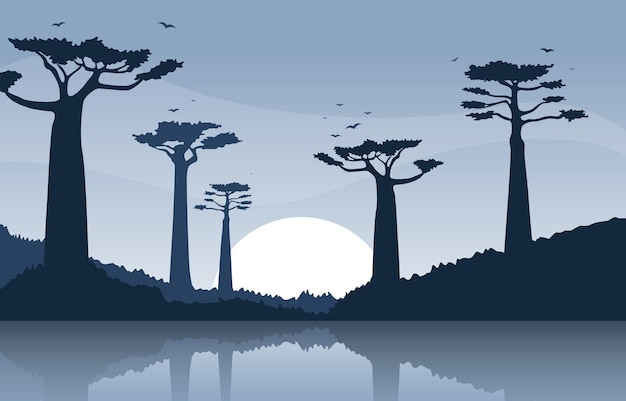 Baobab tree mit oasis savanna landscape africa wildlife illustration