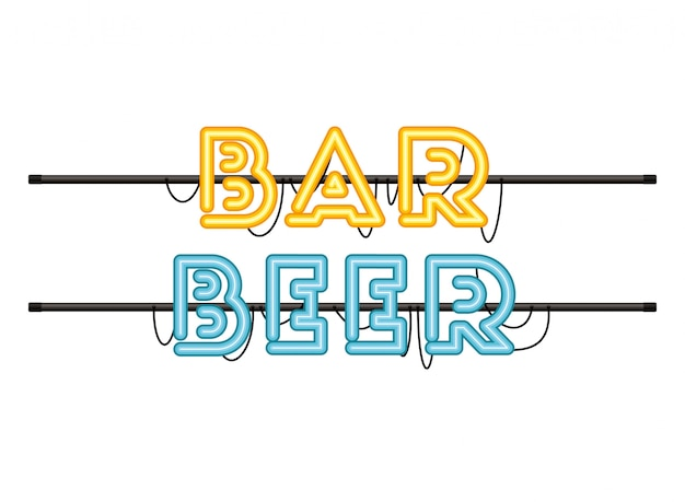 Bar bier label in neonlicht isoliert symbol