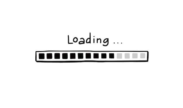 Bar-doodle-element wird geladen. handgezeichnete linienskizze. langsame download-geschwindigkeit, fortschrittsstatus, internet-ladebalkenkonzept. isolierte vektor-illustration.