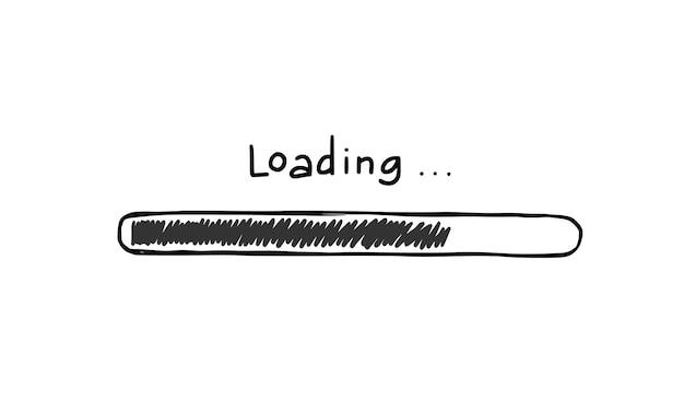 Bar-doodle-element wird geladen. handgezeichneter linienskizzenstil. langsame download-geschwindigkeit, fortschrittsstatus, internet-ladebalkenkonzept. isolierte vektor-illustration.