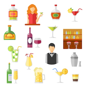 Bar flat icons sammlung
