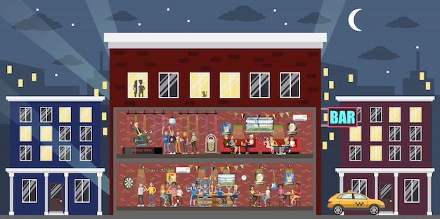 Bar innengebäude in der stadt. leute, die spaß haben.