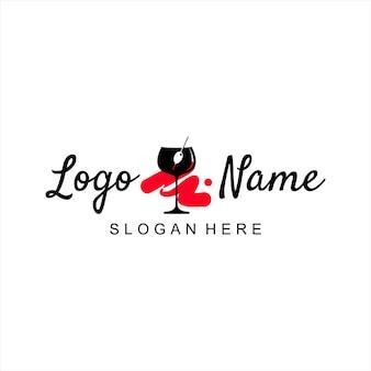Bar-logo-design einfache vorlage weinglas vektor