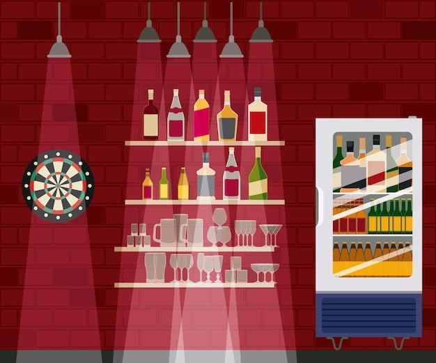 Bar mit alkoholflaschen