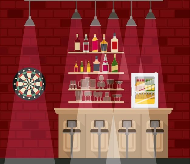Bar mit flaschen schnapszene