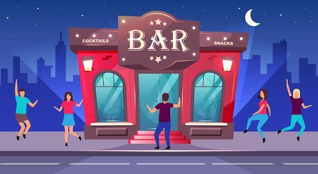Bar nacht event flache farbe. nachtclub unterhaltung. gruppenfeier auf dem bürgersteig vor dem café. nacht-2d-karikatur-stadtbild mit tanzenden menschen auf hintergrund