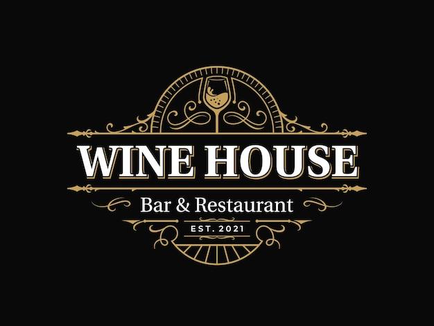 Bar und restaurant verziertes vintage-typografie-logo mit dekorativem ornament-schnörkelrahmen