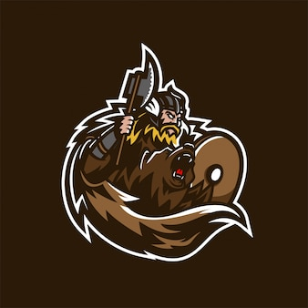 Barbarische wikinger ritter esport gaming maskottchen logo vorlage