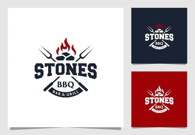 Barbecue-bar und grill-logo im vintage-stil