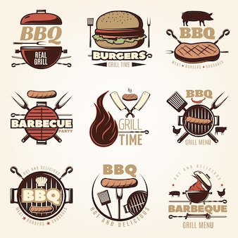 Barbecue bunte embleme set