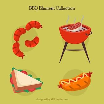 Barbecue-elemente sammlung in flachen stil