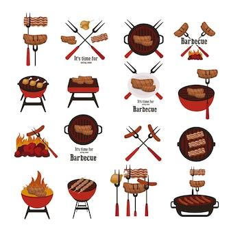Barbecue-elemente sammlung