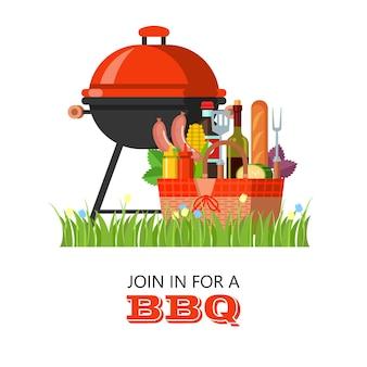 Barbecue, feinstes rindfleisch. grillset, vektor-clipart im flachen stil. großes appetitliches rindersteak, gemüse, basilikum, zitrone. vektorillustration mit platz für text.
