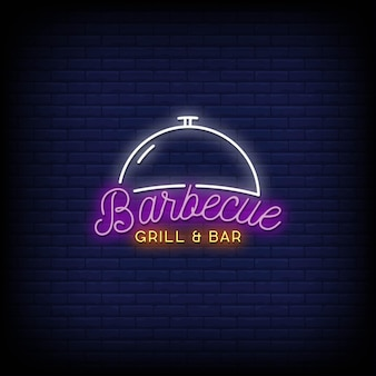 Barbecue grill und bar neon signs style text