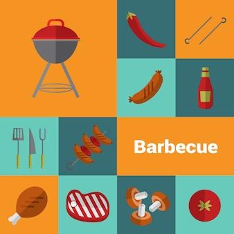 Barbecue-grillikonen eingestellt. bbq-konzept.