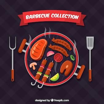 Barbecue im flachen design