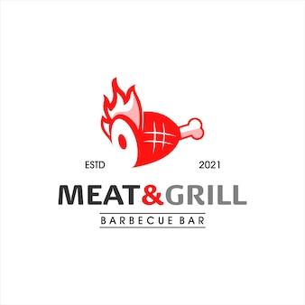 Barbecue logo design grill und räucherfleisch