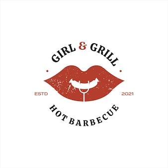 Barbecue logo design ideen für grill- und räucherfleischelemente