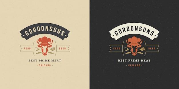 Barbecue-logo grillsteakhaus oder grillrestaurantmenükuhkopf mit flammensilhouette