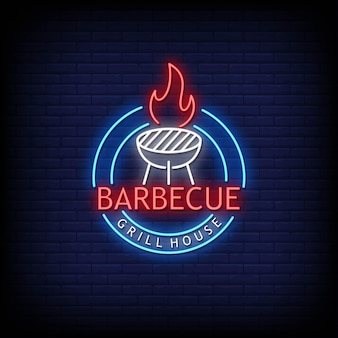 Barbecue logo neon signs style text
