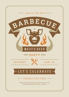 Barbecue party einladungsflyer oder plakatentwurfsschablone