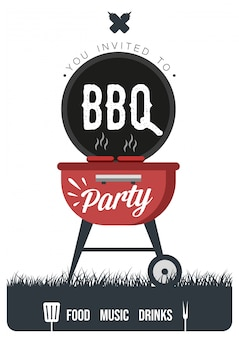 Barbecue party flyer oder poster design vorlage. vintage retro-stil. Premium Vektoren