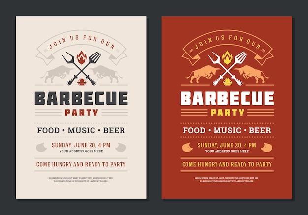 Barbecue party flyer oder poster design vorlage