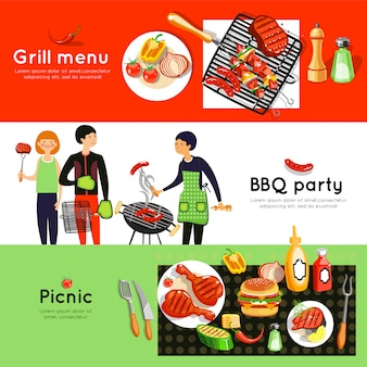 Barbecue party horizontale banner gesetzt