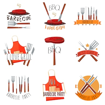 Barbecue-party-label-set