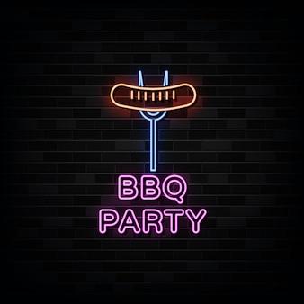 Barbecue party leuchtreklamen. design vorlage neon style
