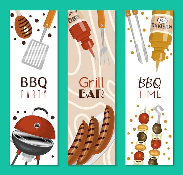 Barbecue picknick party banner fleisch steak auf runden heißen grill gebraten.