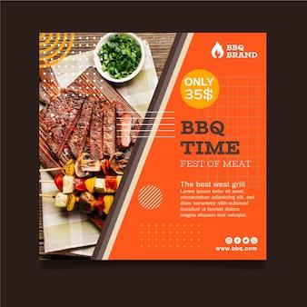 Barbecue quadratische flyer vorlage