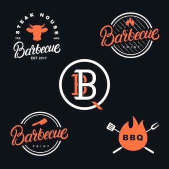 Barbecue-satz des handgeschriebenen beschriftungslogos. vintage-stil.