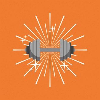 Barbell gym sport sunburst farbe hintergrund