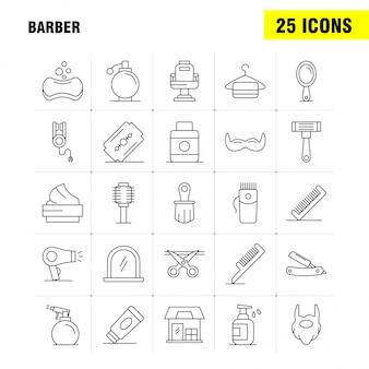 Barber line icons set